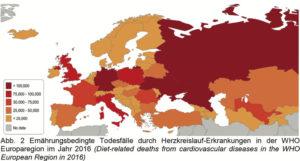 Ernährungsbedingte Todesfälle durch Herz-Kreislauf-Erkrankungen in der WHO Europaregion (gemeint sind EU, Europa, Vorderasien und Teile Eurasiens sowie Westasiens) im Jahr 2016. Grafik: obs/nutriCARD/Dr. Toni Meier